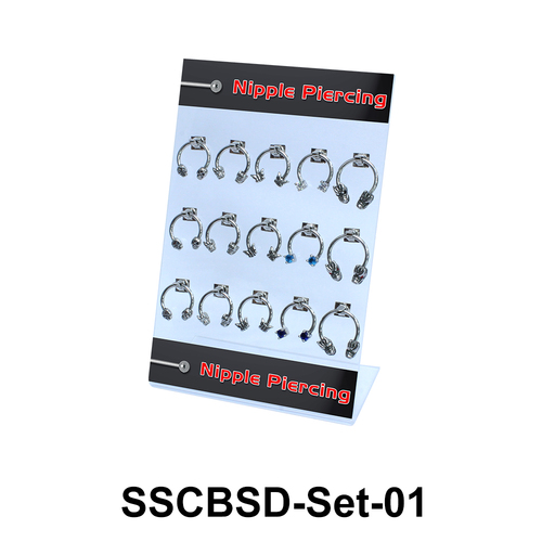 15 Nipple Piercing Rings Set SSCBSD-Set-01