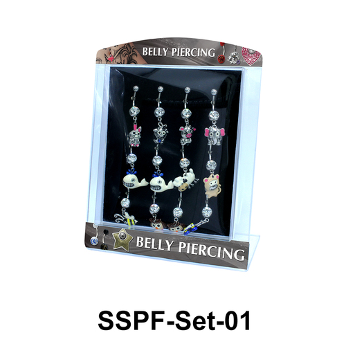 12 Funny Animals Belly Piercing Set SSPF-Set-01