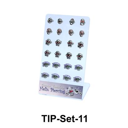 24 Zombie Helix Ear Piercing Set TIP-Set-11