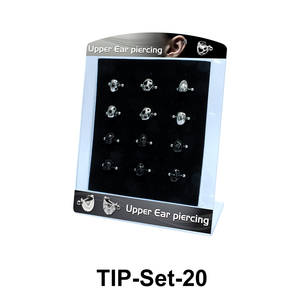 12 Upper Ear Piercing Shields Set TIP-Set-20